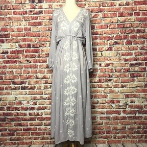 NWT Free People Gray Embroidered Sheer Maxi Dress